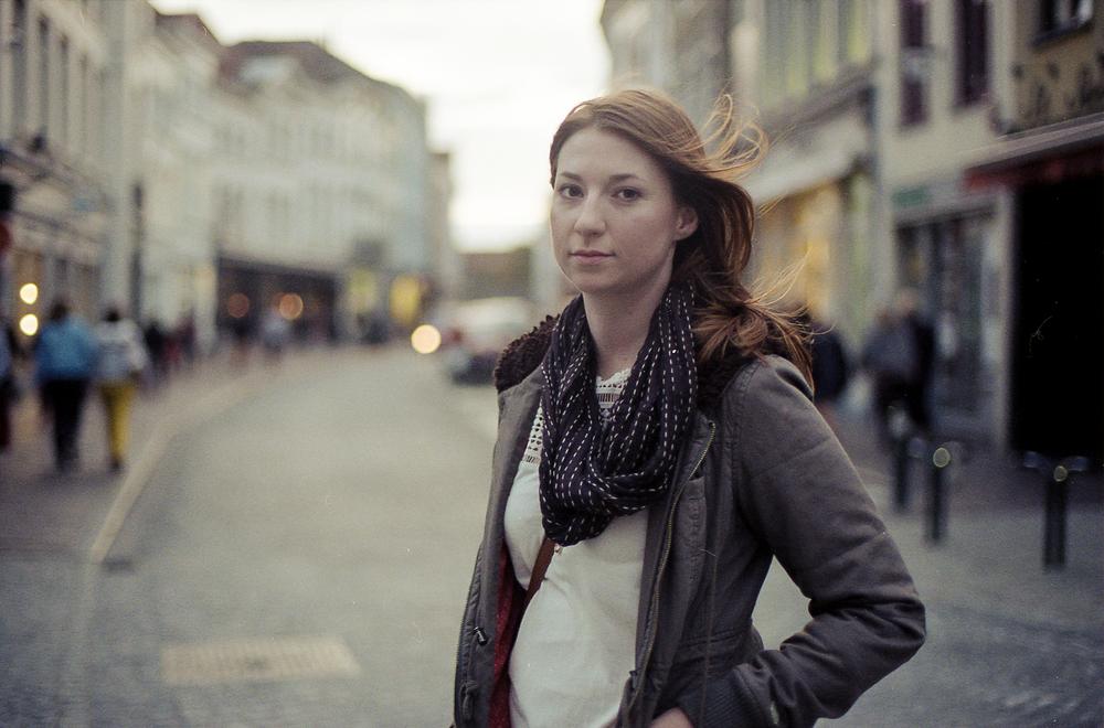 Portrait of the wandering woman. Bruges, Belgium.