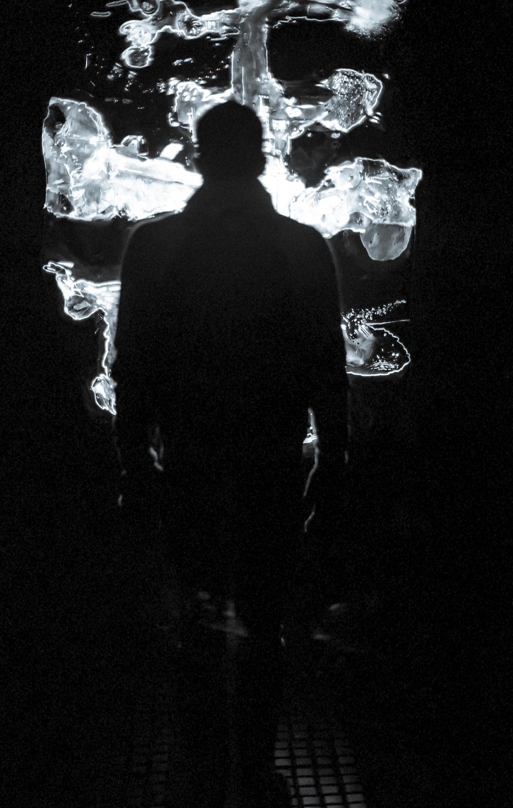 Light sculpture in Prague, Czech Republic