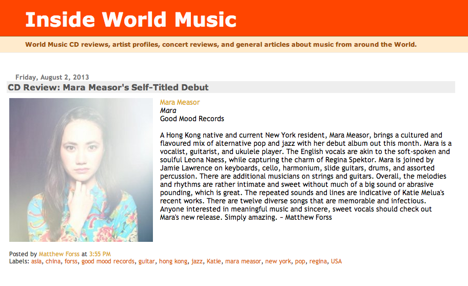 Inside World Music  CD Review  Mara Measor s Self Titled Debut.png