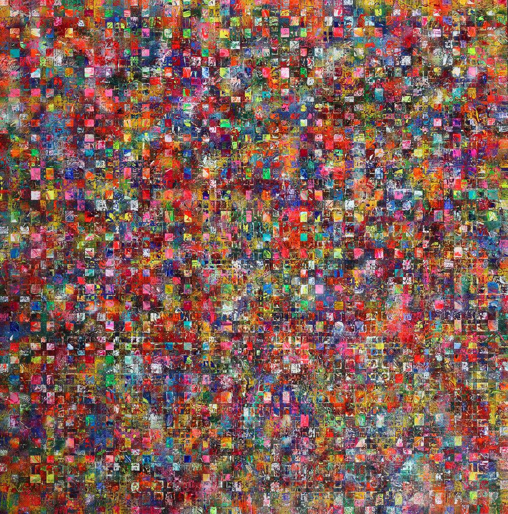 "Mabuhay 2016, 64""x 65"" acrylic & spray paint on canvas"