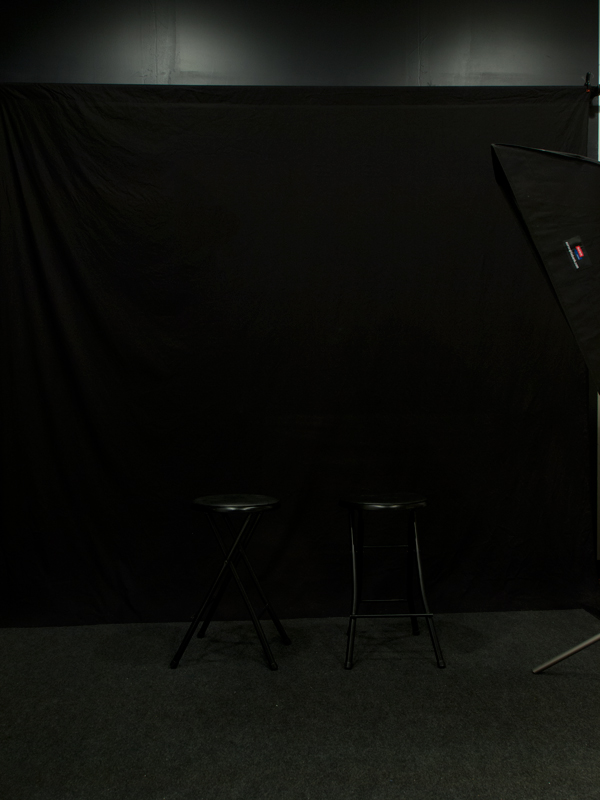 Black backdrop area  on side wall for dramatic portrait, physique, and head shots.