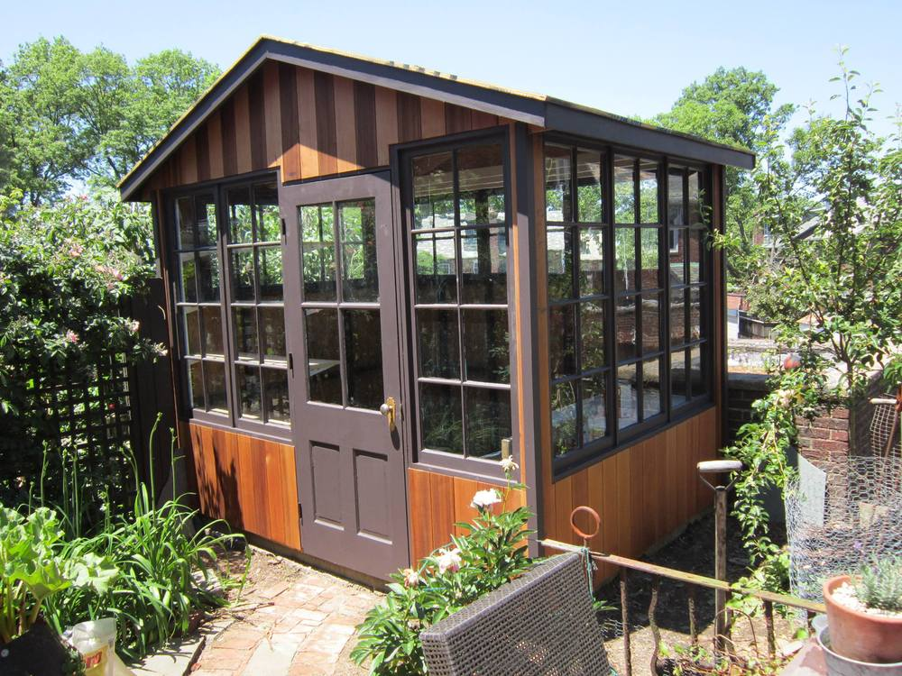 Custom Shed Using Repurposed Glass Windows