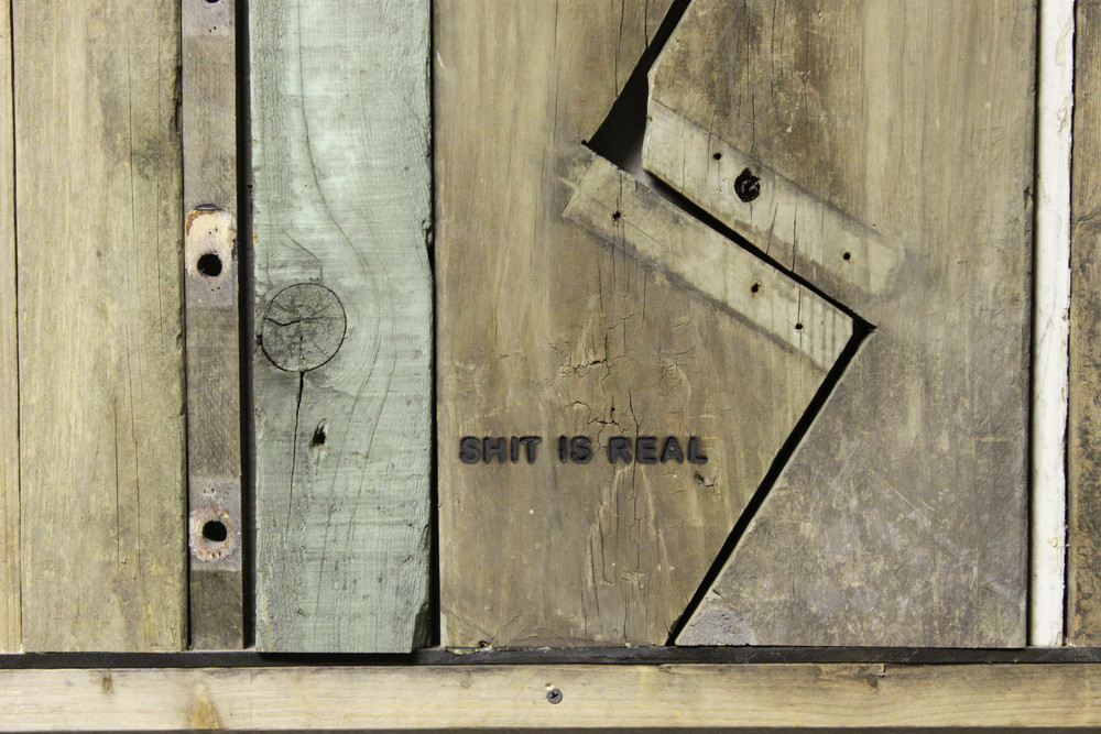 Shit Is Real (detail), 2014, Wood, glue, screws 33 3/4 x 96 x 1 3/8""