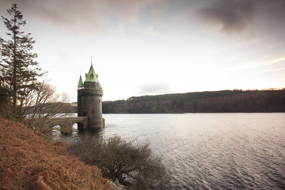 The famous Lake Vyrnwy Straining Tower.