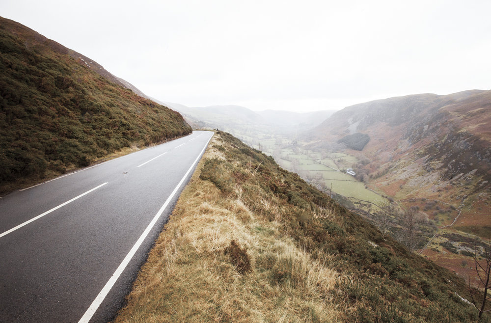 Climbing roads through the mountains of Denbighshire, Wales.