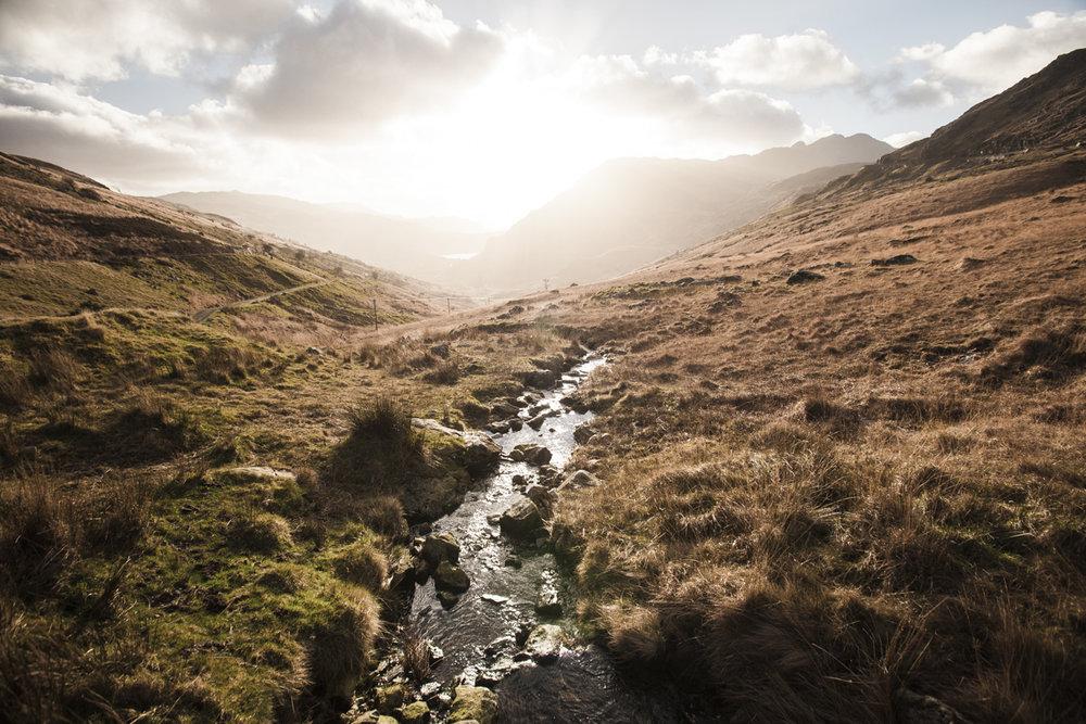 Nant Gwynant sunset, Snowdonia, Wales.