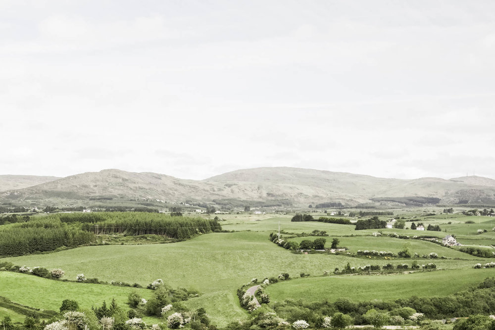 Views as seen from the Pod Páirc, looking over the ever changing green hills.