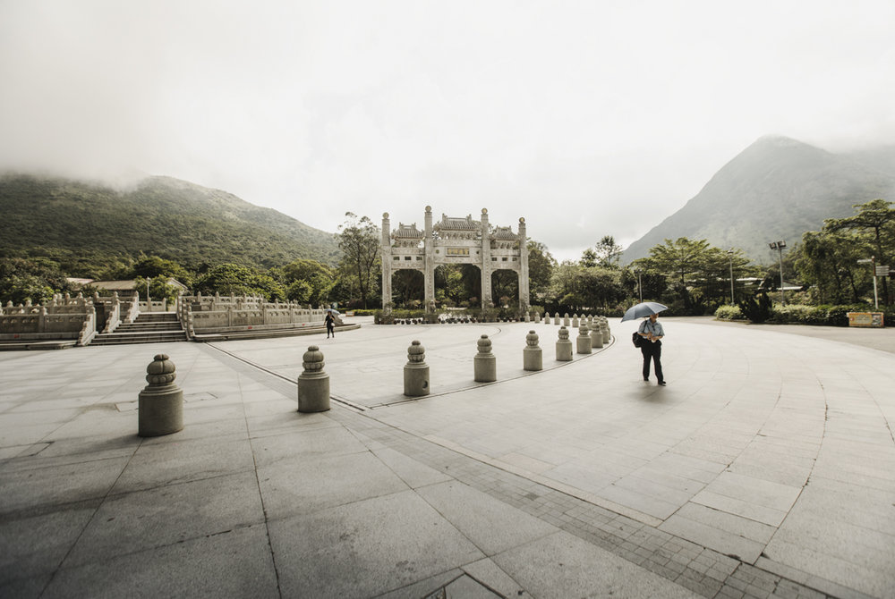 The almost desolated Ngong Ping Piazza in the early morning.