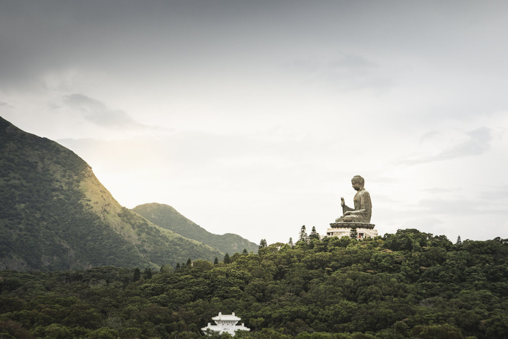 The impressive Tian Tan buddha on Lantau. Looking at the trees, you get an idea of the size of this huge structure.