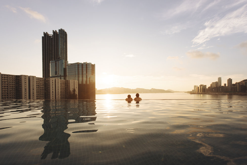 Enjoying a sunrise, while relaxing in the 82-foot-long infinity outdoor pool.