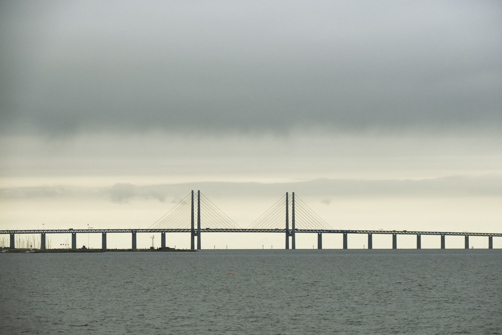 The spectacular Öresund bridge from Denmark to Sweden.