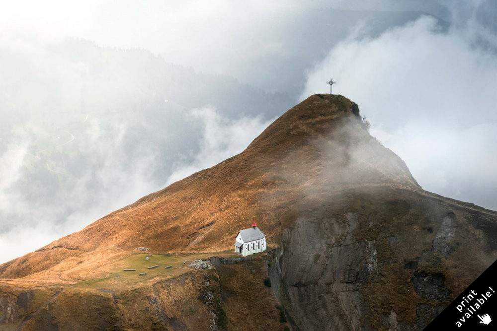 Up to the top of mount Pilatus you will see this breathtaking view of a historical chapel standing on the ridge of the Klimsenhorn. The chapel was build in 1860 and is now often used for weddings.