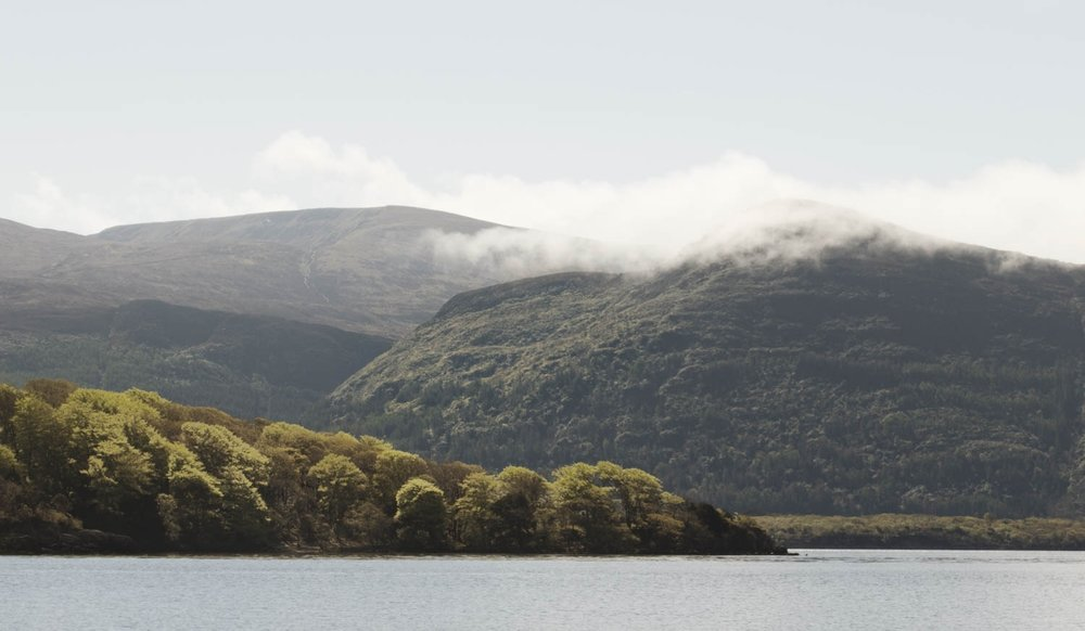 "View towardsthe mountains on Lough Leane, meaning ""lake of learning"". It is the largest of the three  lakes of Killarney."
