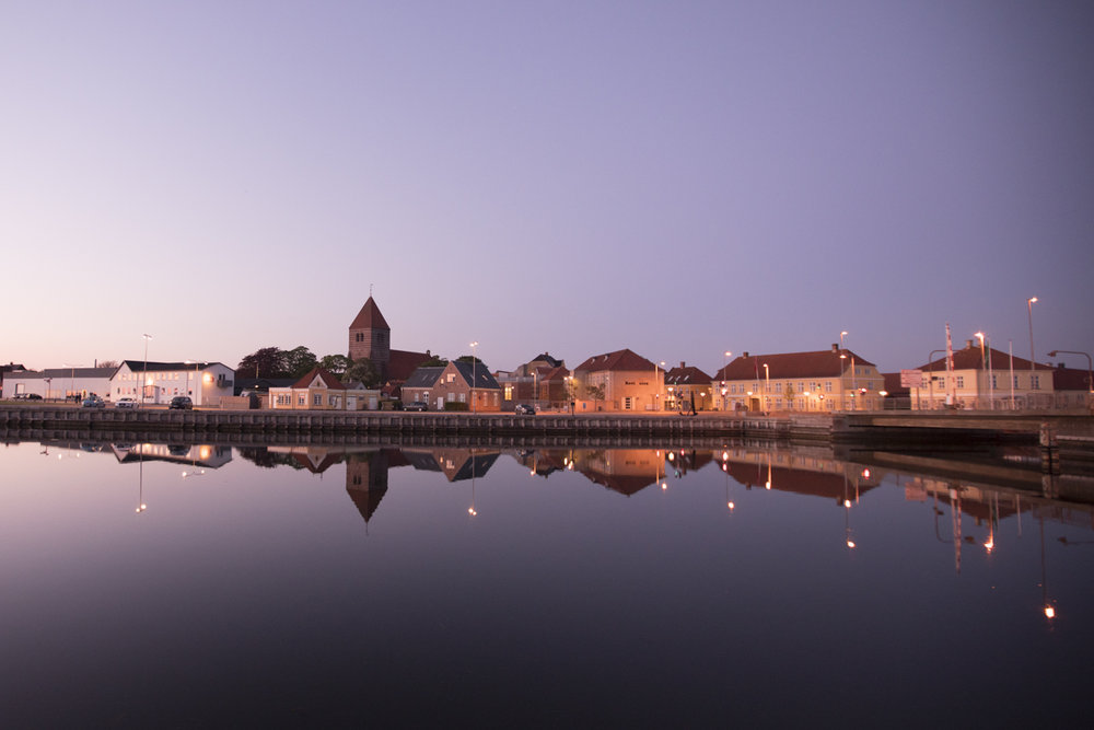 The pitoresque village of Stege in the evening lights.