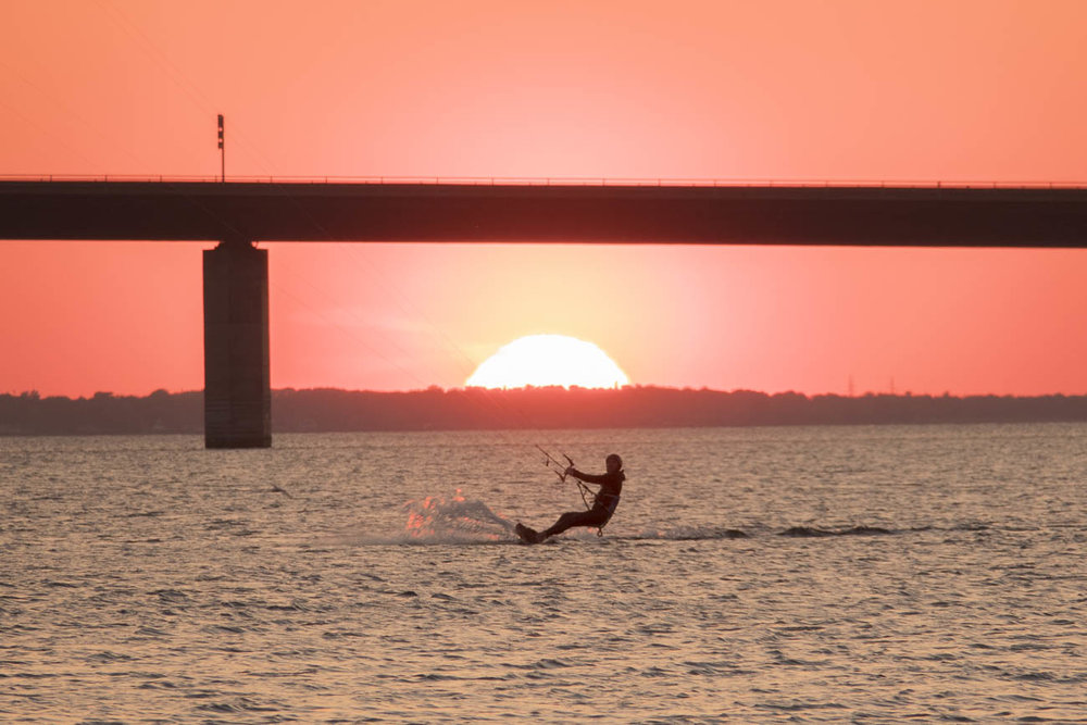 The perfect spot to catch both sunset and kite surfer