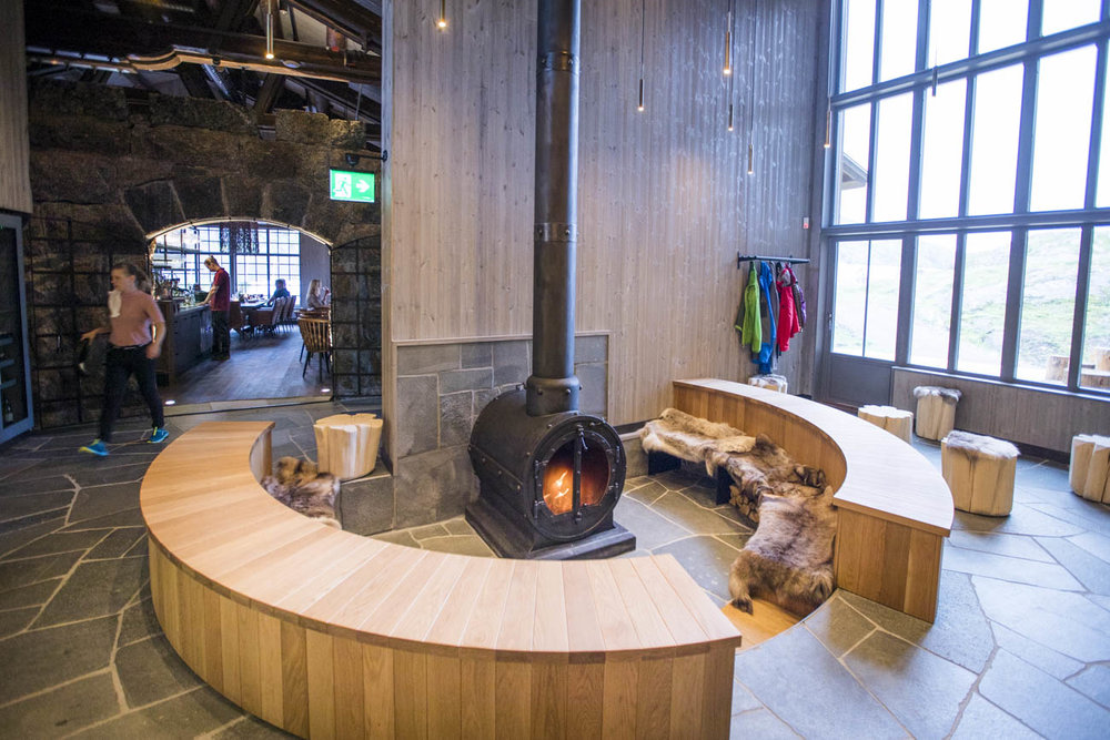 Warm up in the winter at this cosy fireplace