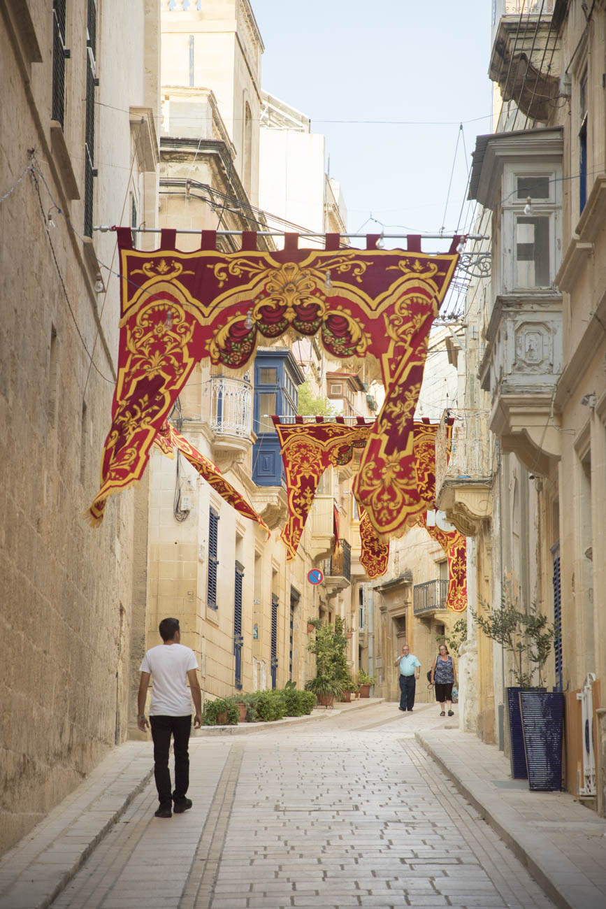 Flags during the celebration of The Feast of Saint Dominic in Birgu