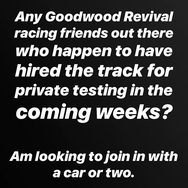 If you know of any spaces available on a quiet, private track or test day at Goodwood this month, I'd love to join in with a car or two as appropriate. Please contact me sam@samhancock.com. Thanks! 🙏🏻🏁 . . @ckldevelopments @csx2130 @benshuckburgh
