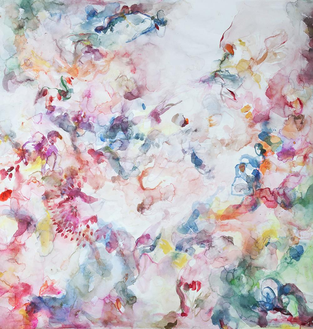 "Desert Flower. Watercolor. 52"" x 56"""