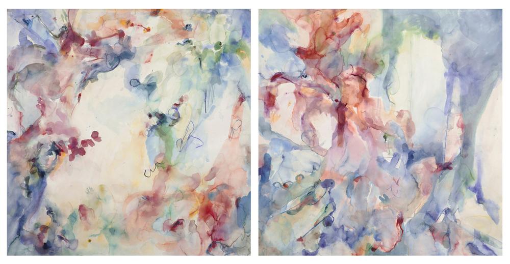 "Esther Eta Cha Cha Cha. Watercolor, murex, African lipstick, lapis lazuli. 108"" w x 54"" h"