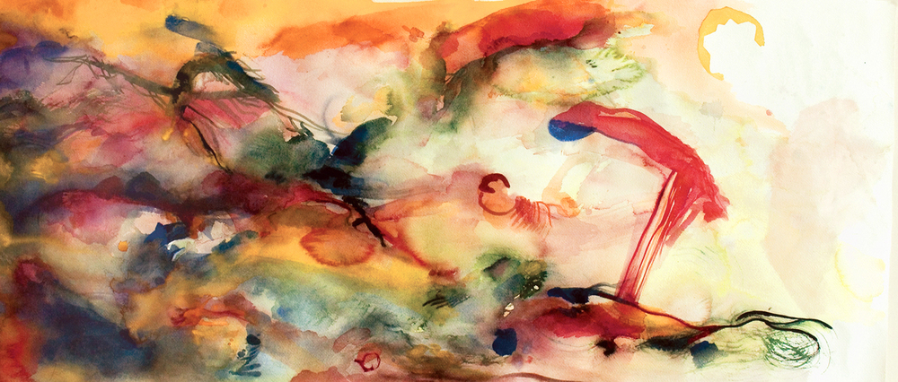 "Winged. Watercolor. 45"" x 22"""