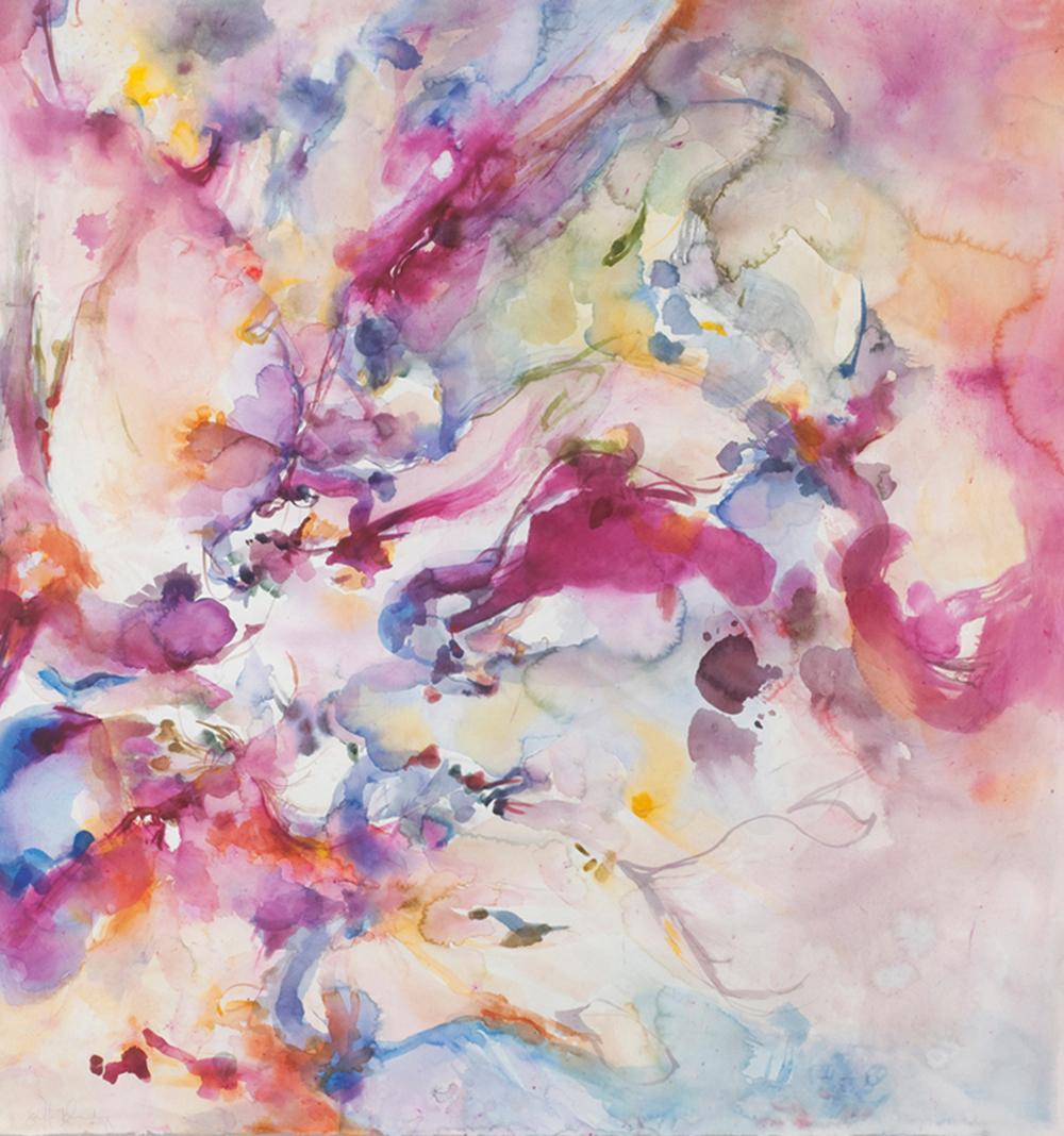 Murex II. Watercolor, murex, African lipstick, lapis lazuli. sold