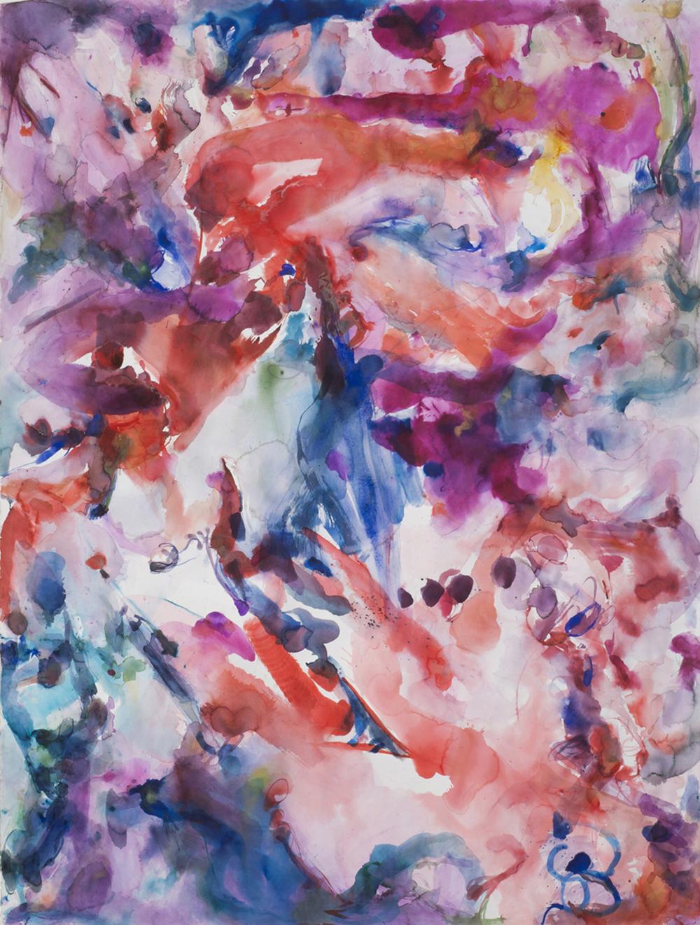 "Reef - Peachy. Watercolor, lapis lazuli, murex, African lipstick. 52"" w x 68"" h"