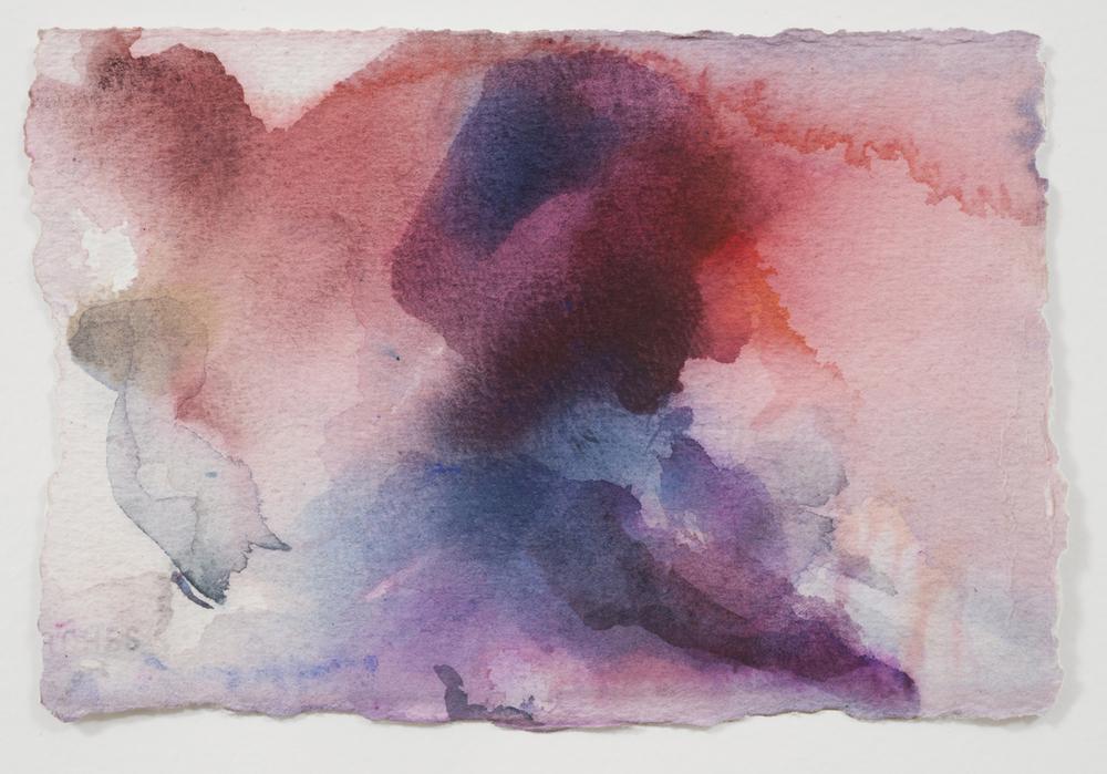"""Clara Noor. Watercolor, Belgian cacao, lapis lazuli, African lipstick & murex. 9"""" w x 6"""" h. sold"""