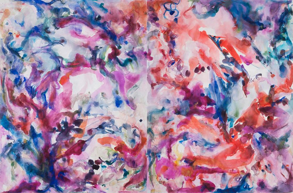 "Reef. Watercolor, lapis lazuli, murex, African lipstick. 104"" w x 68"" h"