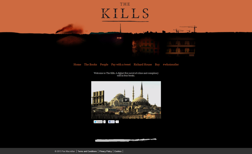 The homepage of www.thekills.co.uk, hosted on Pan Macmillan's web platform.