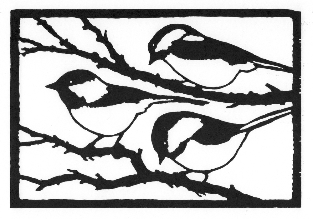 Chickadees  •  © Fred Montague $48  •  image 8 x 5.5  •  mat 14 x 12 Edition size: 88  •  status: available