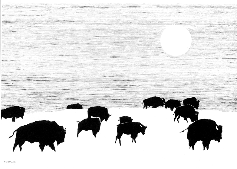 Ghost Herd of the Ghost Prairie • © Fred Montague $185 • Photolithograph • image 27 x 19 unmatted  Edition size: 880 • status: available