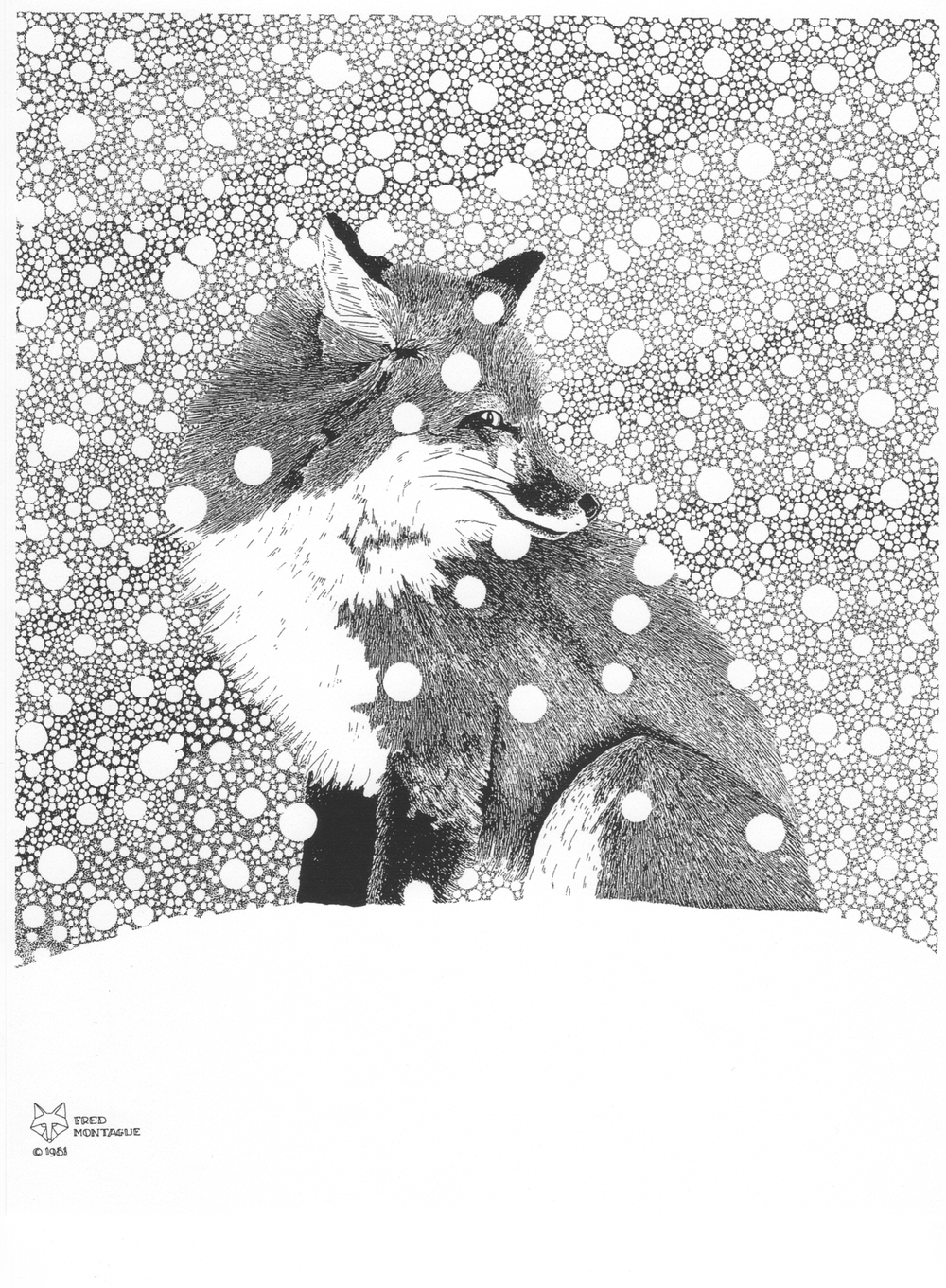 """Backtrack"" (red fox), photolithograph by Fred Montague"