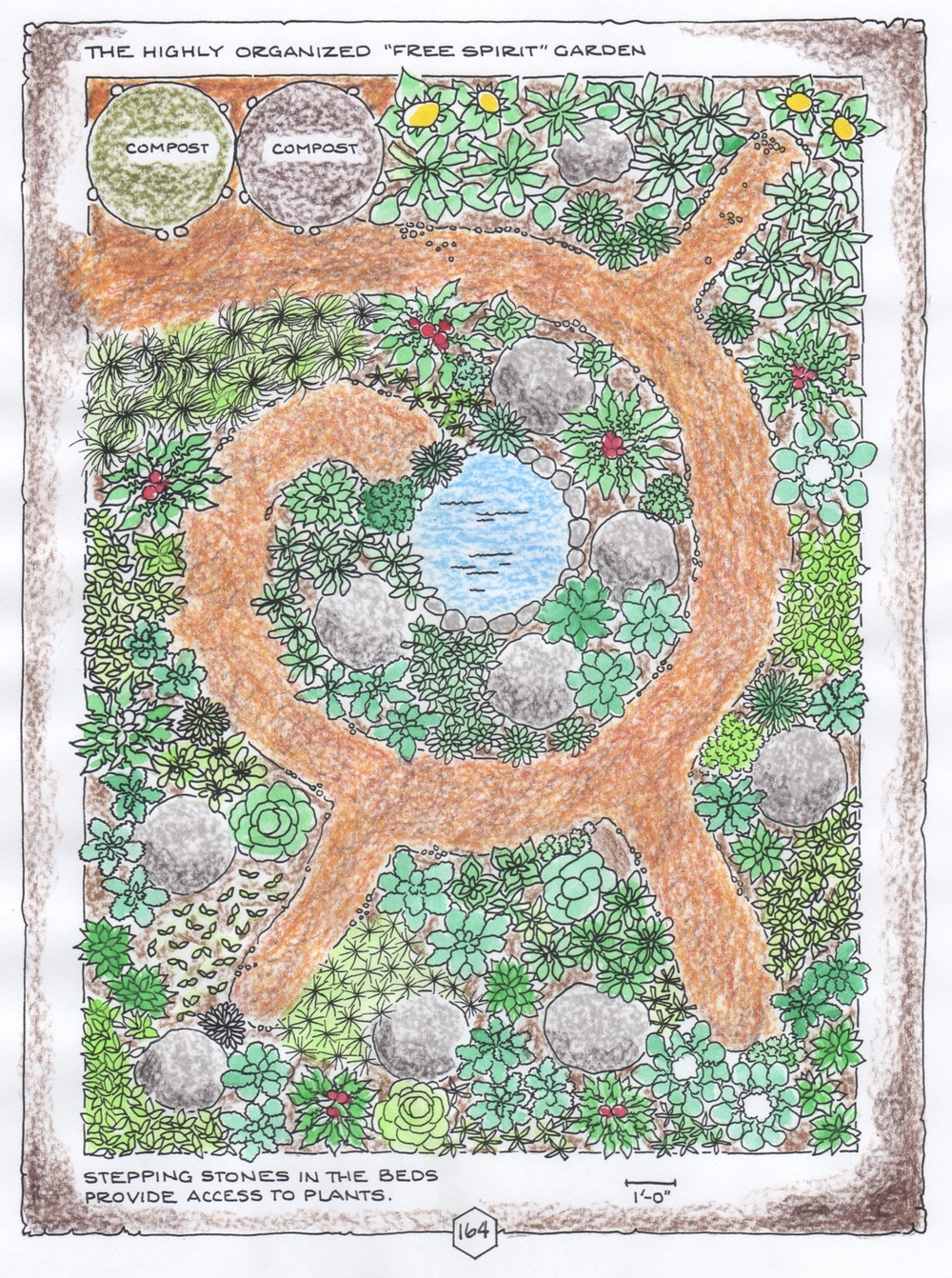 """Free Spirit Garden"", colored-in version,  © Fred Montague"