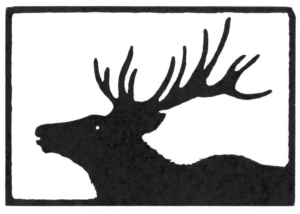 Bull Elk•  © Fred Montague $48  •  image 8 x 5.5  •  mat 14 x 12 Edition size: 88  •  status: available