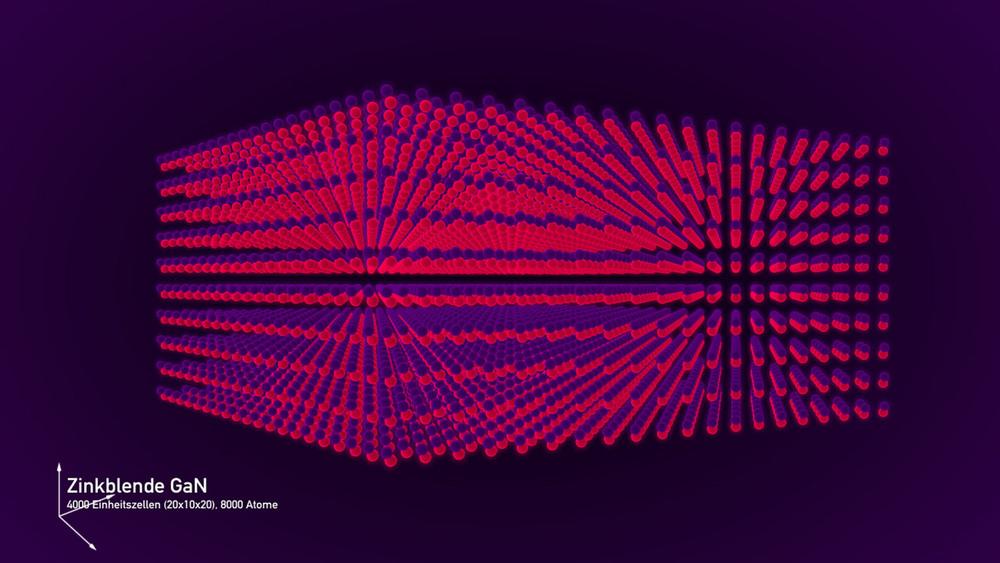 In einem Kristall verbinden sich Atome zu einer regelmäßigen, sich wiederholenden Struktur.