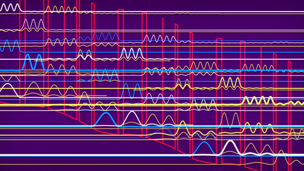 Springt ein Elektron von einem höheren Laserniveau auf ein niedrigeres wird elektromagnetische Strahlung ausgesandt.