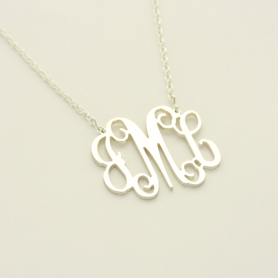 Floating Silver Monogram Filagree Necklace - great bridesmaid or maid of honor gift!