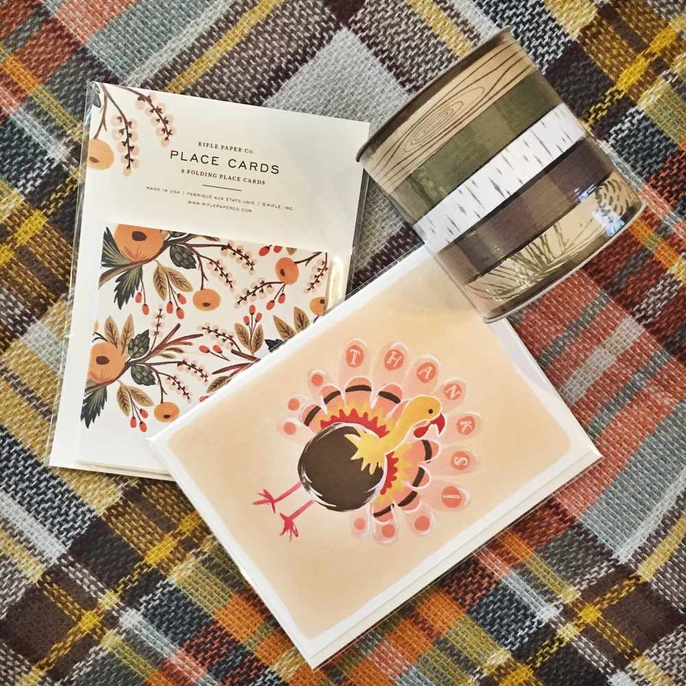 Rifle Paper Co. Place Cards, Fox & Fallow Turkey Greeting Card and Cream City Ribbon Cotton Ribbon pack, all available in store!