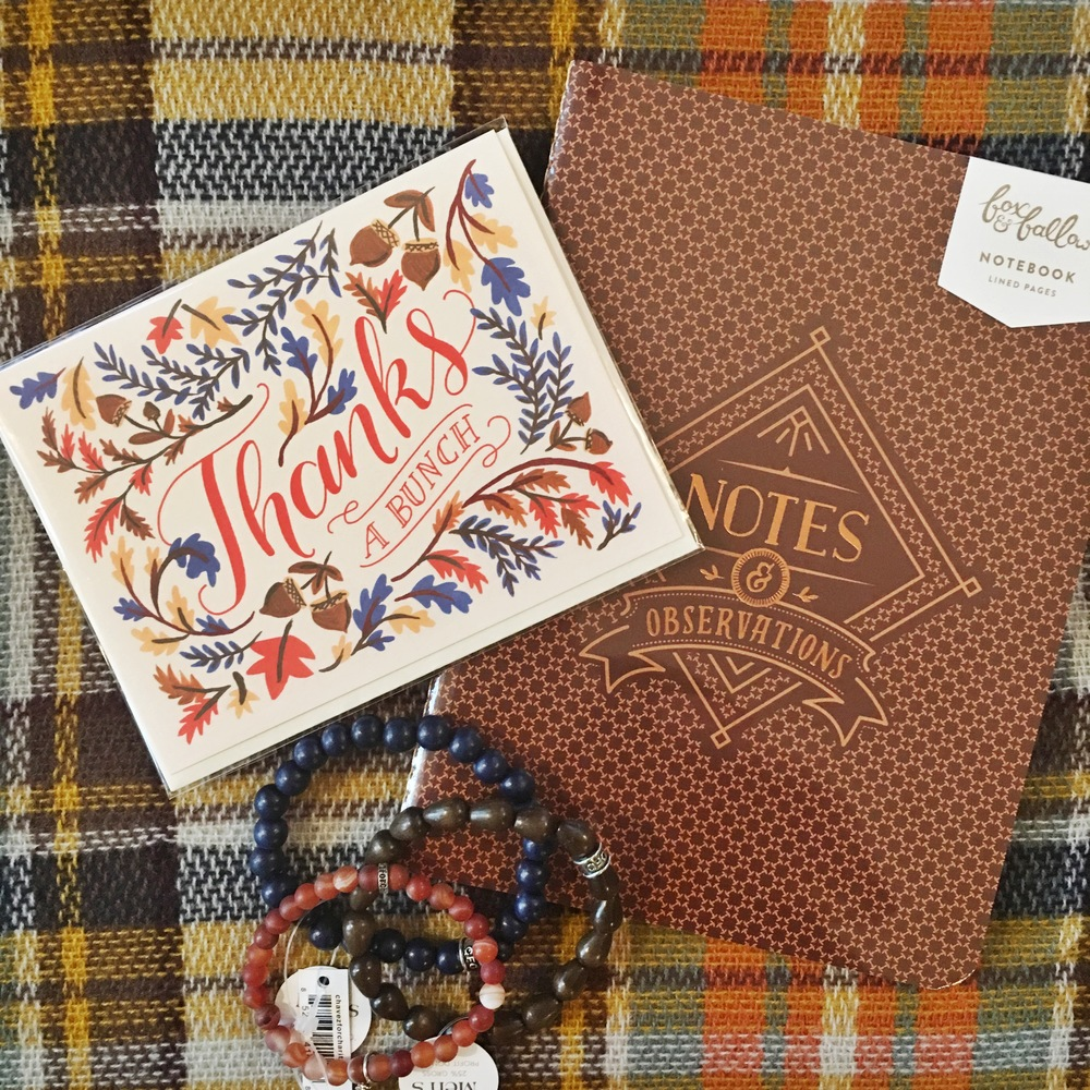 Fox & Fallow Thanks a Bunch Card, Chavez for Charity Bracelets and Fox & Fallow Notebook available at Coqui Paperie & Gifts!
