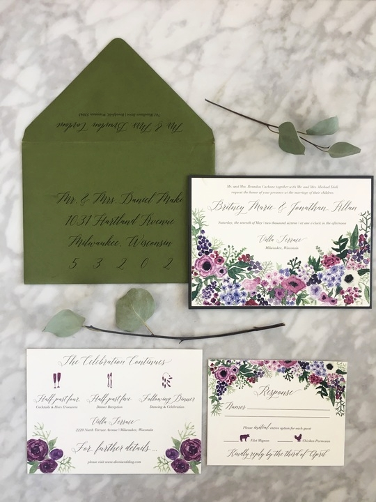 Watercolor floral bouquet invitation suite with digital calligraphy envelope addressing!