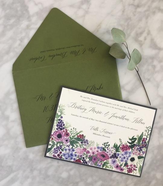 Milwaukee Watercolor Wedding Invitation