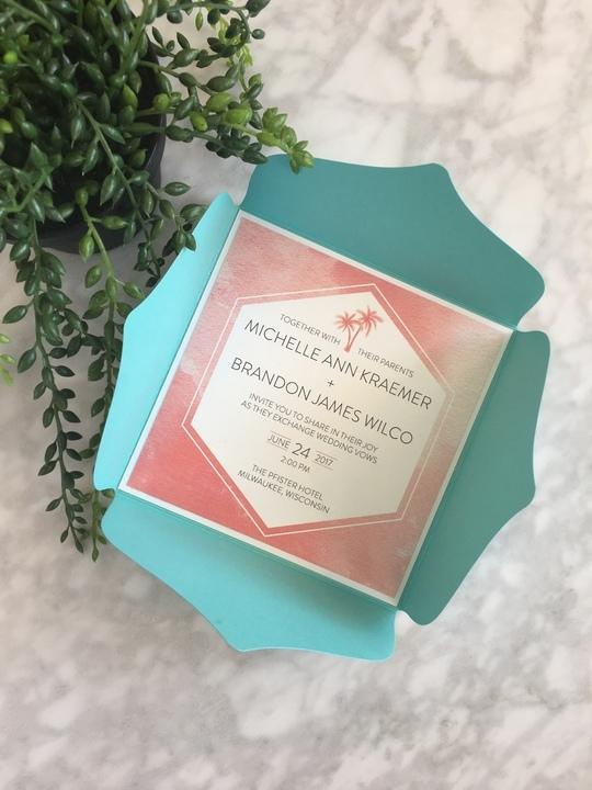 Tiffany Blue & Coral Watercolor Invitation