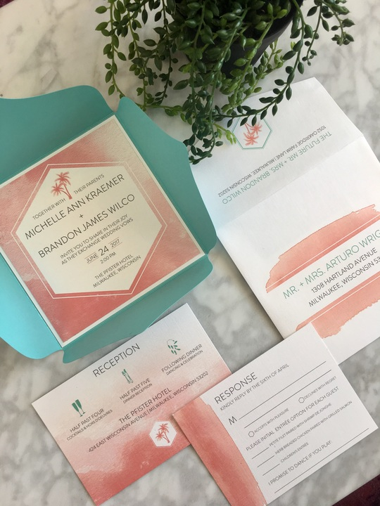 Custom Envelofold Invitation with coral watercolor palm trees. Love the fun envelopes!