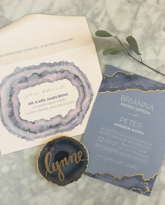Agate inspired gold foil and watercolor invitations!