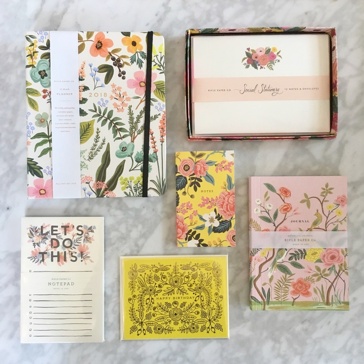 Rifle Paper Co gems! More Rifle products in store, including gold phone cases cards! Oh how we love Rifle Paper Co!