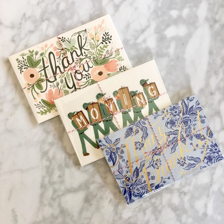 "Rifle Paper Co thank you and moving postcards! Yes, those blue ""Many Thanks!"" postcards have gold foil too...all the heart eyes!"