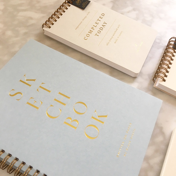 Smitten on Paper sketchbooks, notepads and calendars in swoon worthy neutrals.