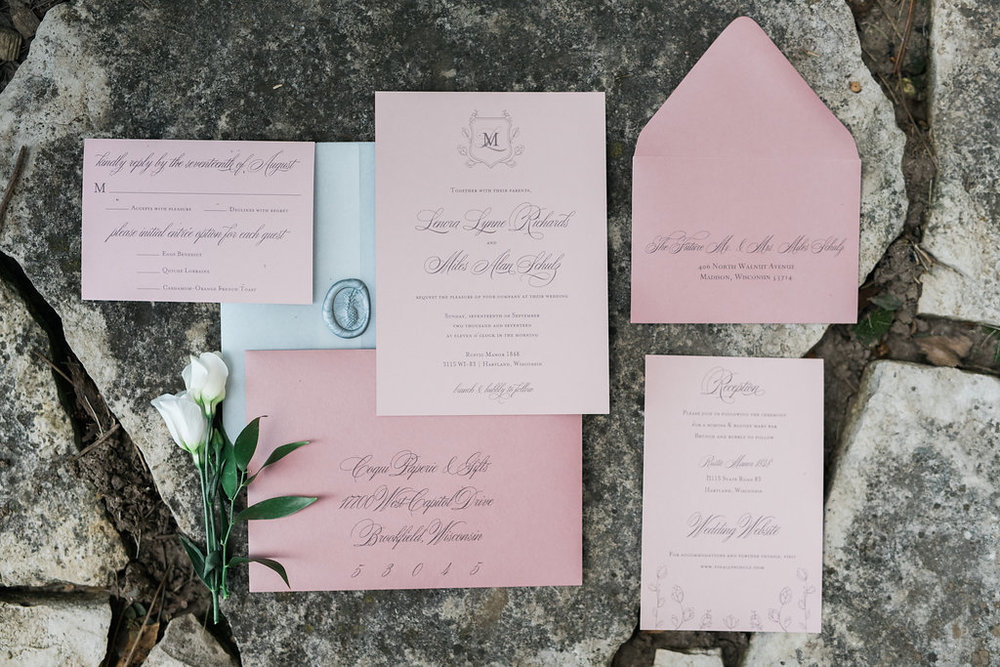 Dusty rose invitation suite with vellum and wax seal? Yes please!