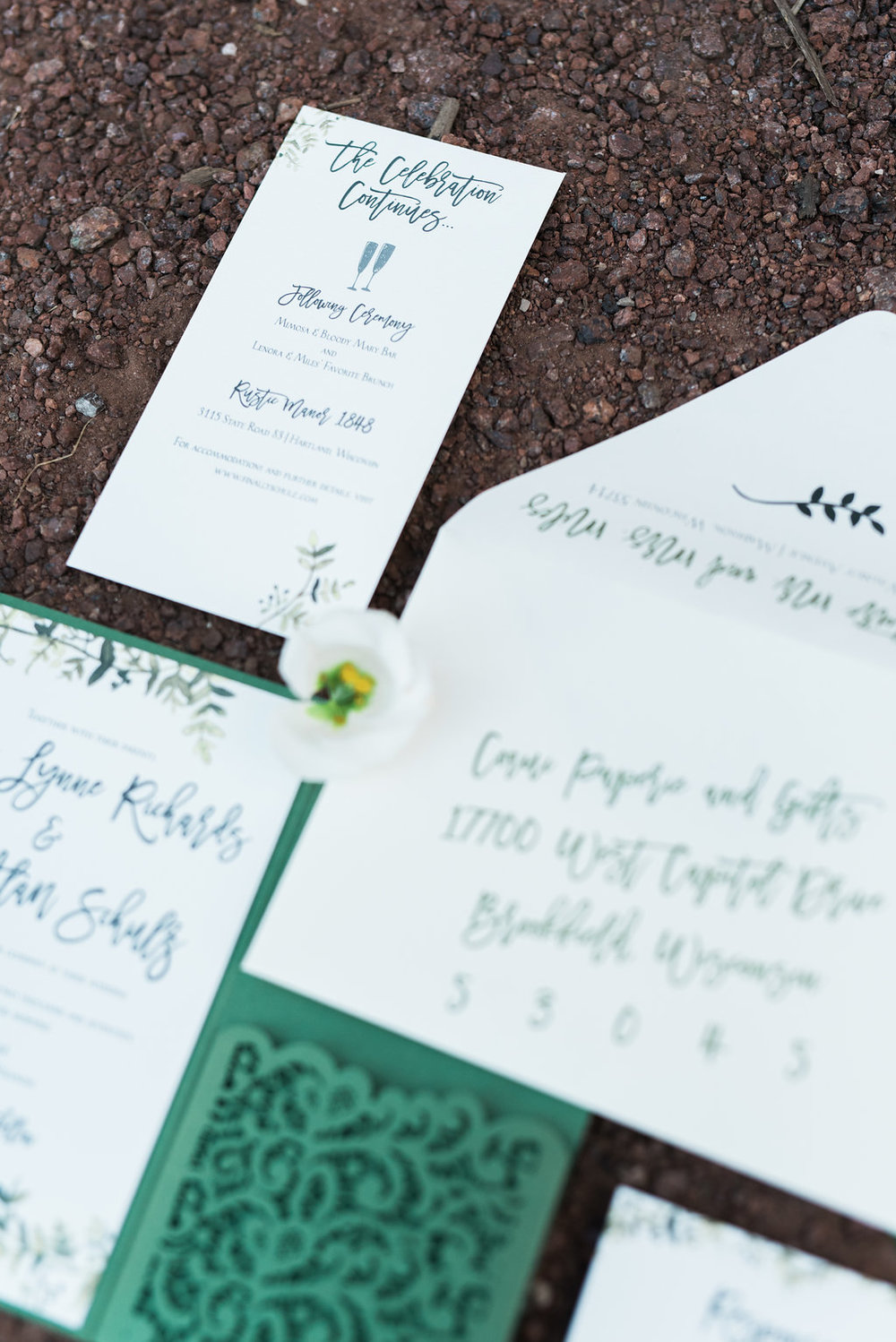 Coqui-Paperie-green-watercolor-laser-cut-pocket-invitation